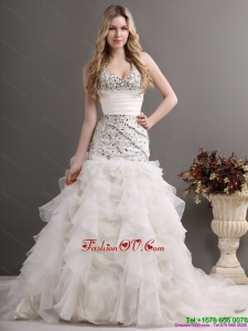 2015 Exquisite Halter Top Wedding Dress with Beading and Ruffles