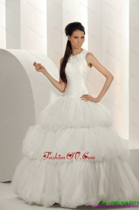 2015 Perfect White Wedding Dresses with Ruffled Layers and Sequins