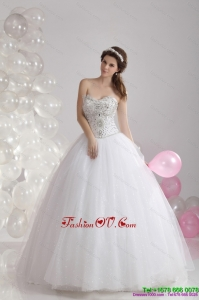 2015 Popular White Sweetheart Rhinestones Bridal Gowns with Brush Train