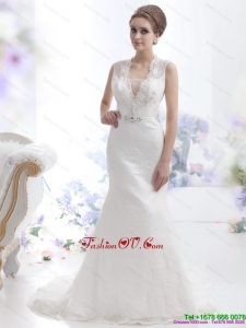 2015 Pretty Mermaid Beading Wedding Dress with Brush Train