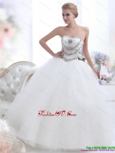 2015 Pretty White Sweetheart 2015 Wedding Dresses with Rhinestones