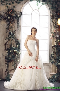 2015 White Strapless Wedding Dresses with Chapel Train and Beading