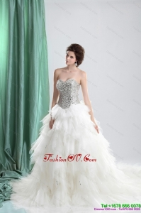 2015 White Sweetheart Rhinestones Wedding Dresses with Chapel Train and Ruffles