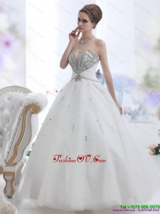 Pretty White Sweetheart Rhinestone Wedding Dresses for 2015