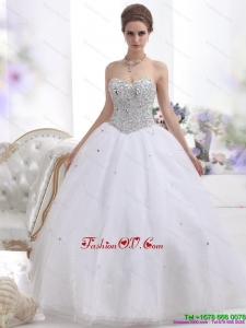 Sweetheart Floor Length White Wedding Dresses with Brush Train and Rhinestones