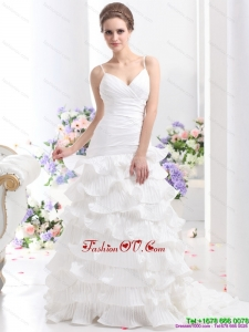 Unique Ruching White Wedding Dresses with Ruffled Layers and Brush Train