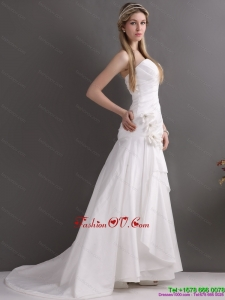 White Brush Train Sweetheart Ruching Wedding Dresses with Hand Made Flowers