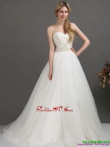 2015 Classical Sweetheart Wedding Dress with Beading and Ruching