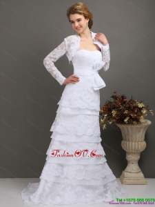 2015 Elegant Sweetheart Wedding Dress with Lace and Bowknot