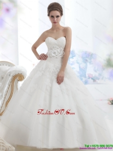 2015 Fashionable Sweetheart Wedding Dress with Lace and Hand Made Flowers