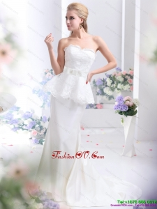 2015 Feminine Sweetheart Wedding Dress with Lace and Bowknot