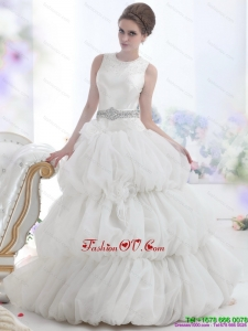 2015 Romantic Scoop Wedding Dress with Beading