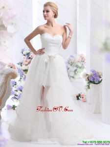 2015 Romantic Sweetheart Wedding Dress with Lace and Sash