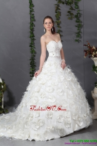 2015 Sturning Sweetheart Wedding Dress with Beading and Hand Made Flowers