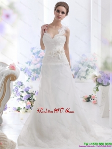 2015 Wonderful A Line Wedding Dress with Lace and Hand Made Flowers