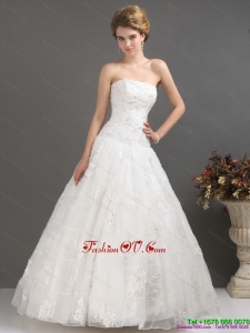 2015 Wonderful Strapless Wedding Dress with Floor Length