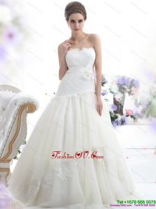Cheap Ruffled White Strapless Wedding Dresses with Sash and Bownot