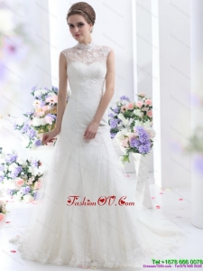 Cheap White Laced Wedding Dresses with Brush Train