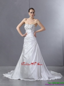 Cheap White Pleated Sequined Wedding Dresses with Court Train