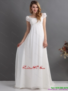 Classical 2015 Ruching Square Wedding Dress with Floor Length