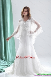 Pretty 2015 V Neck Wedding Dresses with Beading and and Ruching