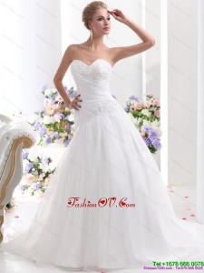 Sophisticated 2015 Sweetheart Wedding Dress with Ruching and Beading