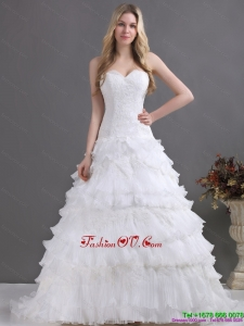 2015 Brand New Sweetheart Wedding Dress with Lace and Ruffles