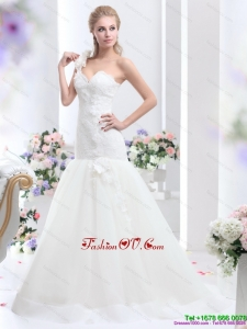 2015 Cheap One Shoulder Wedding Dress with Hand Made Flowers
