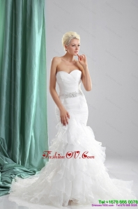 2015 Cheap Ruffles White Sweetheart Wedding Dresses with Sequins