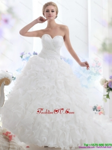 2015 Cheap Sweetheart Ruffles and Beading White Wedding Dresses with Brush Train