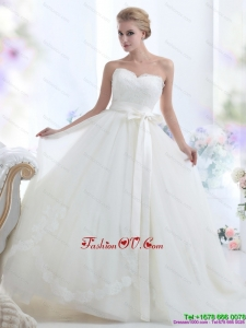 2015 Cheap White Sweetheart Bridal Dresses with Waistband