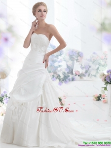 2015 Classical Strapless Wedding Dress with Lace and Ruching