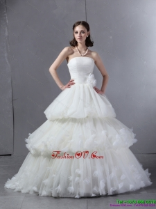 2015 Classical Strapless Wedding Dress with Ruffles and Ruching