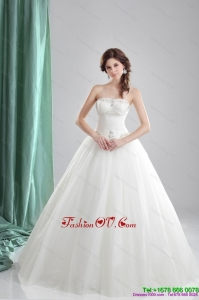 2015 Inexpensive A Line Strapless Wedding Dress with Beading