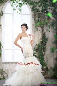 2015 Luxurious One Shoulder Wedding Dress with Beading and Ruching