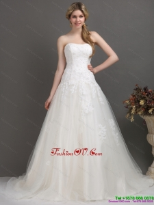 2015 Modest Strapless Brush Train Wedding Dress with Beading