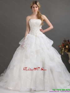 2015 Popular Strapless Lace Wedding Dress with Brush Train