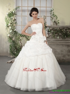 2015 Popular Sweetheart Wedding Dress with Ruching and Appliques