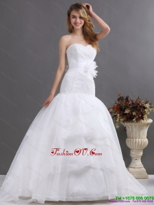 2015 Sophisticated Sweetheart Wedding Dress with Brush Train