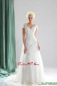 Brand New 2015 Beading and Lace Wedding Dress with Court Train