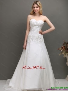 Brand New 2015 Sweetheart A Line Wedding Dress with Appliques and Beading