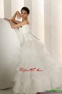 Cheap Beaded Strapless White Wedding Dresses with Ruffled Layers