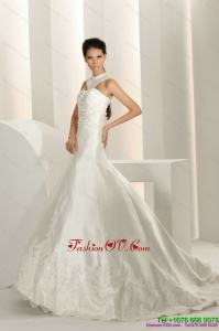 Cheap Beading White Wedding Dresses with Brush Train and Lace