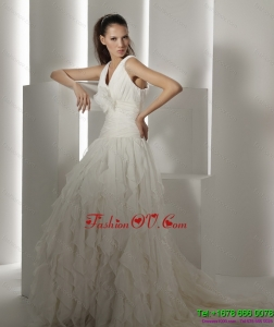 Cheap Ruffled Brush Train White Wedding Dresses with Hand Made Flower