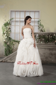 Cheap Ruffled Strapless White Wedding Dresses with Brush Train