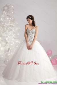 Cheap Ruffled White Sweetheart Wedding Dresses with Brush Train and Rhinestone