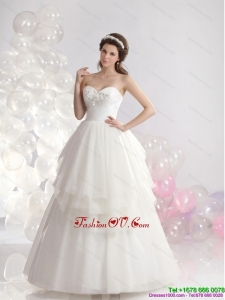 Cheap Sweetheart Beaded Ruffled Wedding Dresses in White