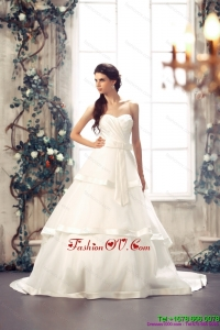 Cheap Sweetheart White Wedding Dresses with Chapel Train