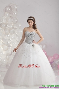 Cheap White Floor Length 2015 Unique Wedding Dresses with Rhinestones