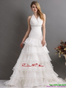 Cheap White Halter Top Beading Wedding Dresses with Ruffled Layers and Brush Train
